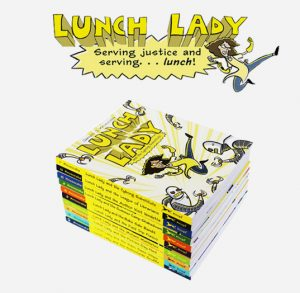 A full set of the Lunch Lady Hero books, available in every VUSD elementary school library!